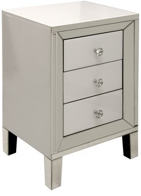 Generic 3 Drawer Cabinet with Diamond Crystal Pulls - White Finish