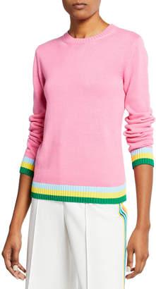 Mary Katrantzou Stripe-Trim Cotton Crewneck Sweater