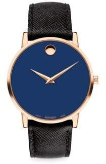 Movado Museum Classic Leather Strap Watch - Blue