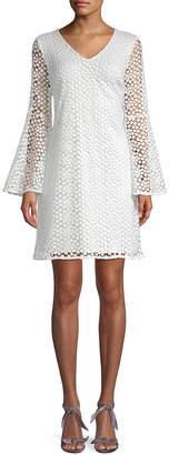 Karl Lagerfeld Lace Bell-Sleeve Dress