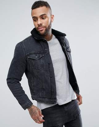 New Look fleece lined denim jacket in black