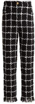 Balmain High Rise Checked Tweed Trousers - Womens - Black White