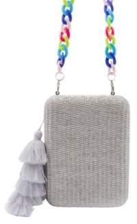 La Regale Raffia Tassel Box Clutch with Colorful Acrylic Chain