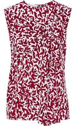Oscar de la Renta Gathered Printed Silk Top