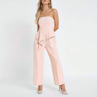River Island Petite light pink bandeau jumpsuit