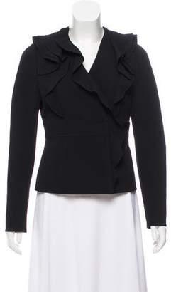 Valentino Long Sleeve Ruffle-Trimmed Jacket