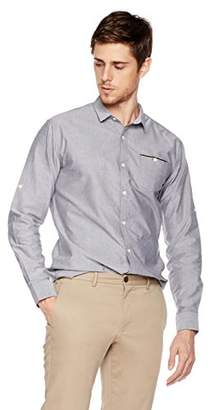Isle Bay Linens Men's Slim-Fit 100% Cotton Long-Sleeve Woven Shirt