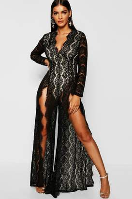028eeb8f4d0 boohoo Boutique Lace Split Front Jumpsuit