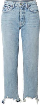 GRLFRND Helena Distressed High-rise Straight-leg Jeans - Light denim