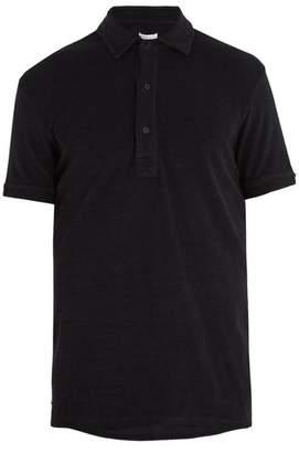 Orlebar Brown Sebastian French Terry Towelling Cotton Polo Shirt - Mens - Black