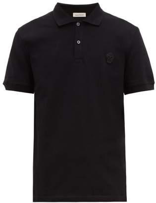 Alexander McQueen Skull Embroidered Cotton Pique Polo Shirt - Mens - Black