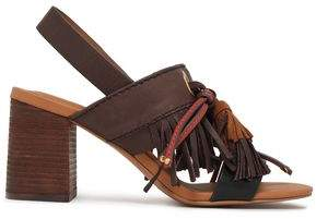 See by Chloe Tasseled Leather And Suede Slingback Sandals