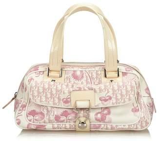 Christian Dior Vintage Flower Canvas Polochon Shoulder Bag