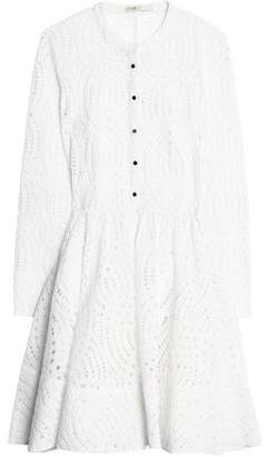 Maje Flared Pleated Broderie Anglaise Mini Dress