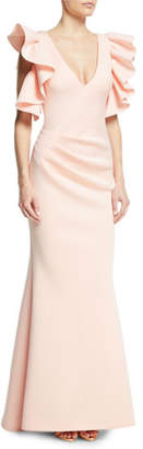 Jovani Marshmallow V-Neck Ruffle Gown