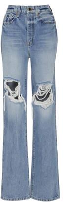 KHAITE Danielle Distressed High-Rise Straight-Leg Jeans