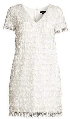 Aidan Mattox Women's V-Neck Sequin Fringe Mini Dress