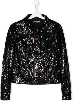 DSQUARED2 TEEN sequin embroidered jacket