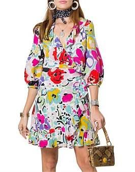 Rixo London Abigail Dress Bright Brush Stroke Floral