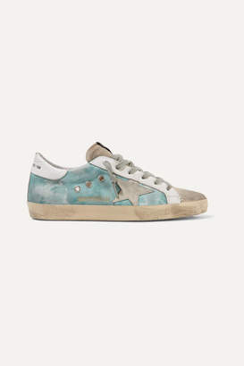 Golden Goose Superstar Distressed Tie-dyed Distressed Canvas, Leather And Suede Sneakers - Blue