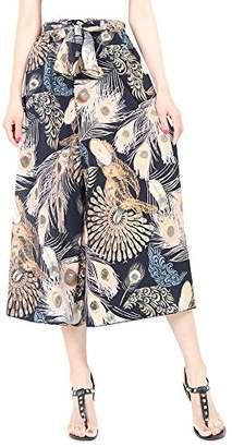 FEOYA Women Palazzo Pants Wide Leg Pants Casual Summer Trousers Comfy Pants Elastic High Waist Pants Plus Size X-Large