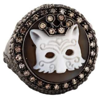Amedeo Diamond & Shell Crowned Cat Ring