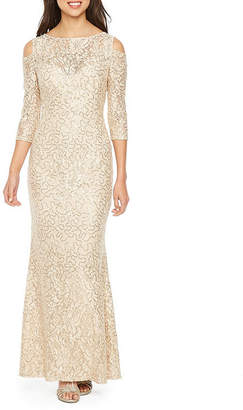 BLU SAGE Blu Sage 3/4 Sleeve Cold Shoulder Sequin Lace Evening Gown