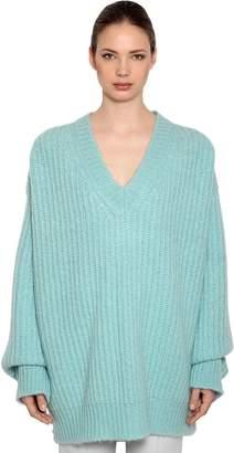 Calvin Klein Oversized V Neck Mohair Rib Knit Sweater