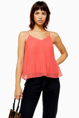 Topshop Womens Pleat Camisole Top - Coral