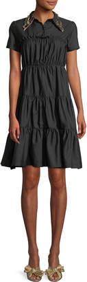 No.21 No. 21 Shirred Shirt Dress w/ Embellished Collar