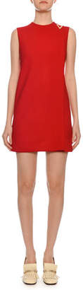 Valentino Sleeveless Jewel-Neck Double-Crepe Shift Dress