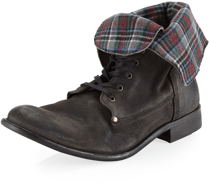 Rogue Suede Lace-Up Boot, Charcoal