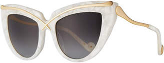 Karlsson Anna-Karin Lusciousness Cat-Eye Sunglasses, Pearl