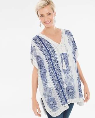 Printed Crochet-Trim Tassel Poncho