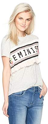Camp Moonlight Women's Feminist T-Shirt With Vichy Ruffle