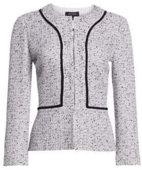 St. John Women's Alca Three-Quarter Tweed Jacket - White Flamingo Multi - Size 18