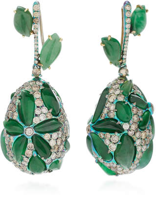 Arunashi One-Of-A-Kind Imperial Jade Flower Drop Earrings