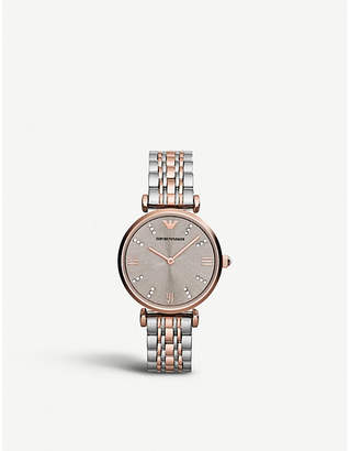 Emporio Armani AR1840 stainless steel and rose gold-plated watch