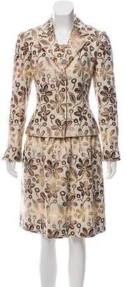 Bill Blass Three-Piece Patterned Dress Set copper Three-Piece Patterned Dress Set