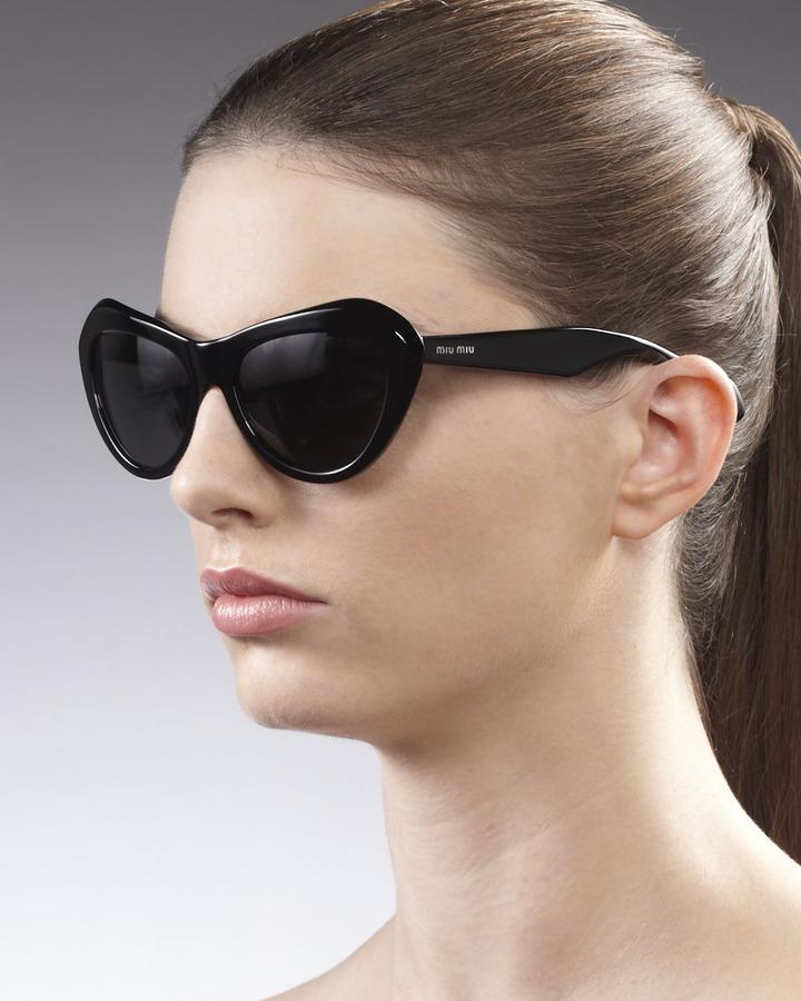 Miu Miu Vintage Cat Eye Matte Sunglasses, Black
