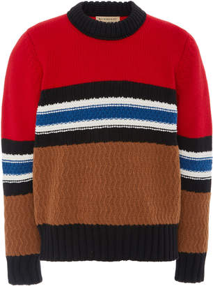 Burberry Striped Textured Wool-Blend Sweater