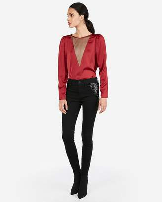 Express Mesh Front Puff Shoulder Blouse