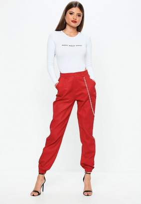 Missguided Petite Red Chain Detail Cargo Pants