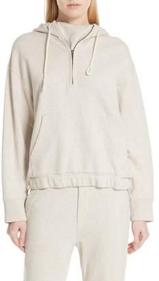 Vince Half Zip Cotton Hoodie Sweatshirt