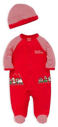 Little Me Boys' My First Christmas Embroidered Toy Train Footie & Hat Set - Baby