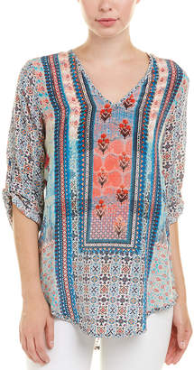 Tolani Molly Denim Silk Blouse