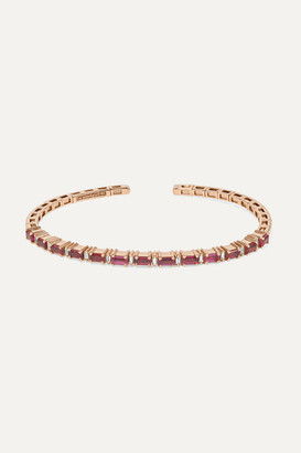 Suzanne Kalan 18-karat Rose Gold, Ruby And Diamond Cuff