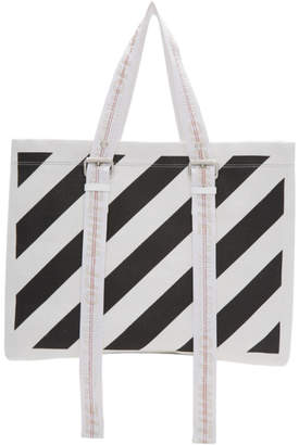 Off-White Off White White and Black Canvas Diagonals Tote