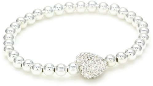 Very Me White Crystal Heart Silver Plated Beads Bracelet