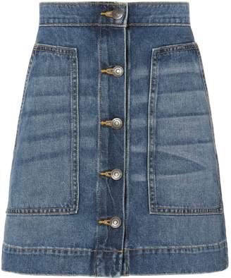 Veronica Beard Getty Denim Mini Skirt